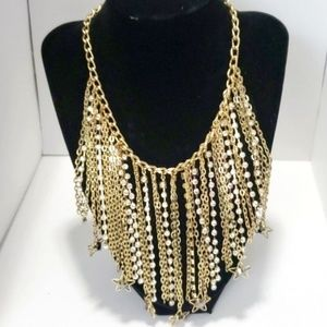 INC Gold Chain Necklace NEW Bib Sexy Diva Stars